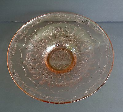 "Vintage Federal Glass Pink Depression Glass Bowl 10 7/8"" In Diameter"