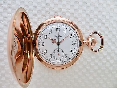 Antique 14K ROSE GOLD MINUTE REPEATER CHRONOGRAPH Pocket Watch Weil Freres