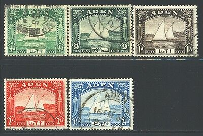 ADEN Sc1-5 SG1-5 Used 1937 Adenese Dhow Defin short set of 5 to 2&1/2a SCV$13