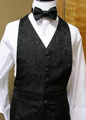 Boys Vest and bowtie Black (3-8) Paisley Party Dance Wedding Formal Tuxedo tie