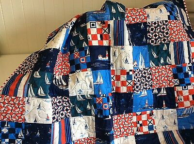 Handmade patchwork quilt. Yachts, Lighthouse, Seaside