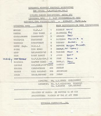 Liverpool Boys v East Northumberland Boys 1970/71 English Trophy (Single Sheet)