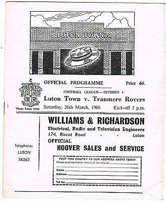 Luton Town v Tranmere Rovers 1965/6 (26 Mar)