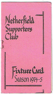 Netherfield Supporters Club Fixture Card 1974/5
