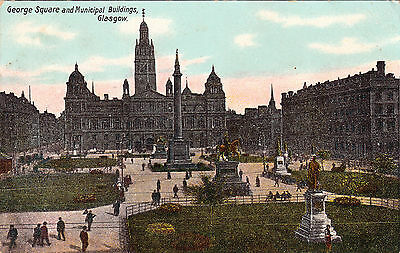 Postcard - Glasgow - George Square and Municipal Buildings