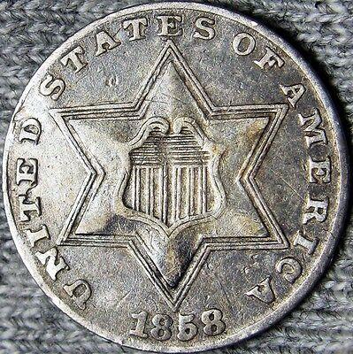 1858 Silver Three Cent Piece 3cp ---- TYPE COIN ---- #D366