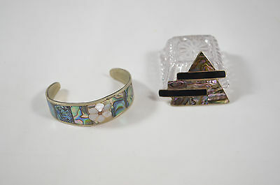 Vintage Mexico Alpaca Silver Cuff Bracelet and Pin LOT Abalone  22.1 grams