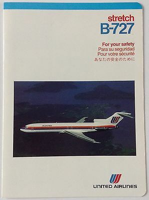 United Airlines Boeing 727 Safety Card