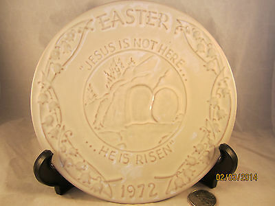 "Vtg Frankoma ""he Is Risen  Plate""~ 1972  Easter  Oral Roberts Assoc. White Glaze"