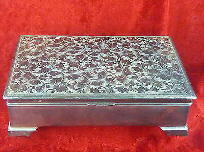 A Very Large Sized Decorated Trinket Box, Unmarked Likely Silver Plate