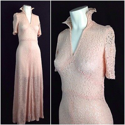 Vintage 1930s Pink SHEER Floral Lace Bias Cut Dress Full Length Gown Lingerie XS