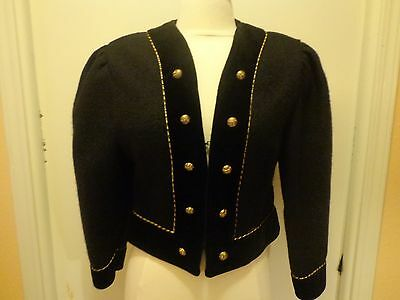 Ladies Geiger Austria Wool Cropped Military Style Blazer, Black with Gold, SZ 36