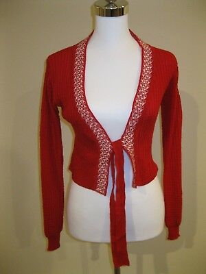 As New SOFT RED WHITE CROPPED LONG SLEEVE KNIT CARDIGAN 6 8