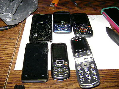 lot of 6 cell phones for parts or repair