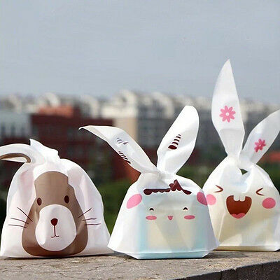 20/50pcs Bunny Party Favor Candy Cookies lot Treat  Gift Bags Plastic DIY