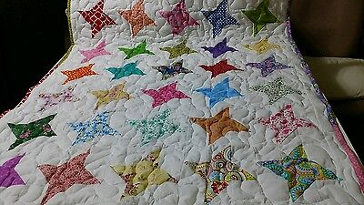 Handcrafted Handmade Girl many colors Star Multi Color Baby Crib Lap Throw Quilt
