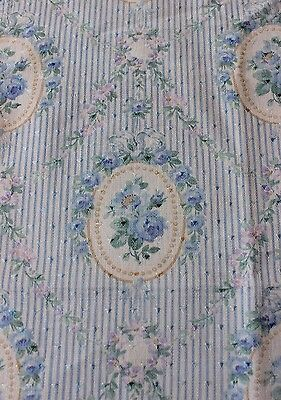 Antique Romantic Country French Roses Linen Textile Fabric Sample c1900