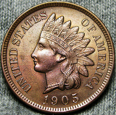1905 Indian Head Cent Penny ---- GEM BU++ DETAILS ---- #D408