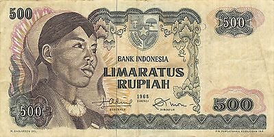 Indonesia  500 Rupiah  1968 Series ODT circulated Banknote WM9