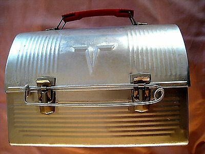 Thermos Lunch Box   Aluminum  with lock.... ( No Thermos bottle)  pre 1970