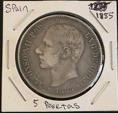 1885 Spain 5 Pesetas 90% Silver Alfonso XII