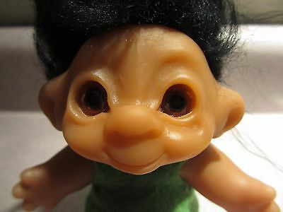 "Vtg. 1967 Denmark 5"" Dam Troll...wonderful Dark Hair...amber Eyes..orig Shirt!"