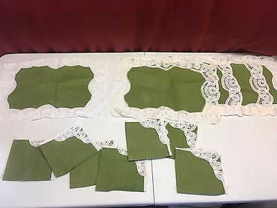 vintage table linens place mats and napkins green with lace
