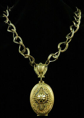 Antique Stunning VICTORIAN GOLD Tone Textured SHIELD LOCKET Large LINK NECKLACE