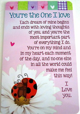 "Heartwarmer Keepsake Message Card ""you're The One I Love"" Cute 4 Valentine's Day"