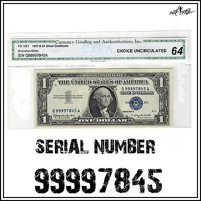 UNC 1957-B Silver Certificate High Serial Number Fancy Note, Old $1 Dollar Bill