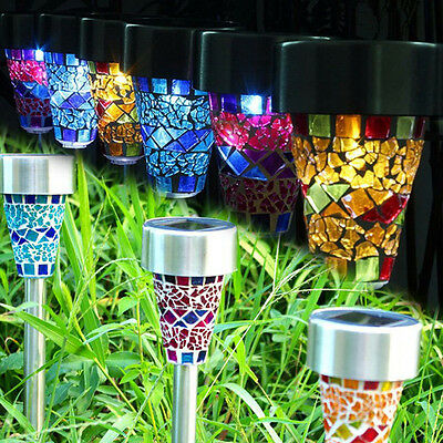 3x Solar Power LED Lamp Colorful Mosaic Light Outdoor Garden Yard Decor Lighting