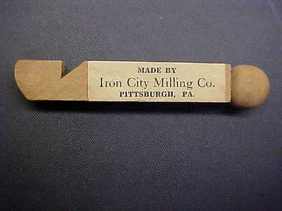 Pittsburgh PA IRON CITY MILLING CO Flour Advertising Wooden Whistle