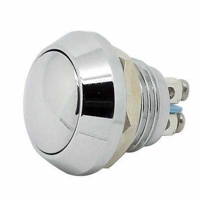 """New 12mm 1/2"""" Anti-Vandal Momentary Metal Push button Switch Dome Top Chrome fu"""