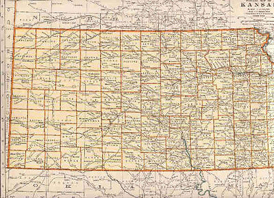 1940 Original Vintage  Map  IOWA / KANSAS   .listing Population & Area #