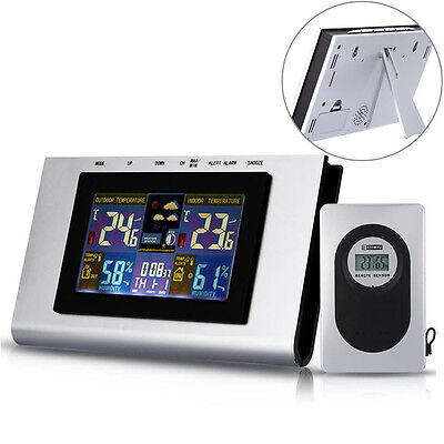 Wireless Digital LCD Weather Station Thermometer Humidity Calendar Alarm Clock