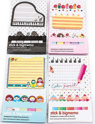 Cute Kid Cartoon 5+1 Stick Post It Marker Memo Index Tab Sticky Note Flag A1788