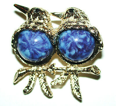 Vintage Blue Belly Love Birds On Branch Lapis Art Glass Pin Brooch New/os Sphinx