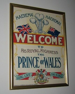 King Edward VIII Fine Framed Poster Genuine Authentic Rare Prince of Wales RARE