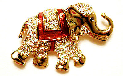 Vintage Pave Rhinestones Red Enamel Dancing Elephant Pin Gilded Gold Sphinx