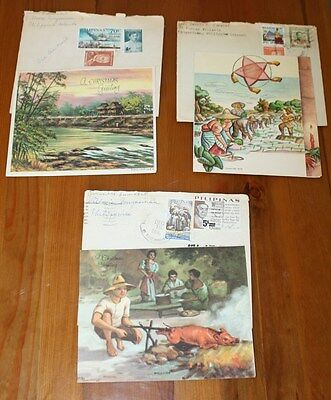 3 Vtg Old Stamped Christmas Cards Philippines sent to U.S. 1960's