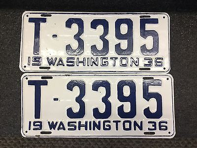 Original Restored Matching 1936 Washington Truck License Plates SCTA Rat Rod Old