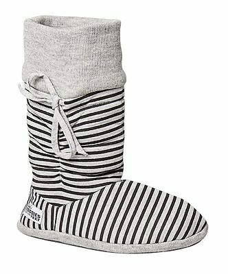 Womens Grosby - Hoodies Stripes Boots Slipper Shoes Ladies Fluffy Ugg Grey  Warm