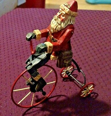 Vintage Santa Riding a Metal Tricycle Figurine Legs Move