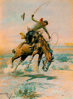 """CHARLES RUSSELL, 1904 Western, Rodeo, Bronc, Cowboy, 17""""x13"""" Canvas Art"""