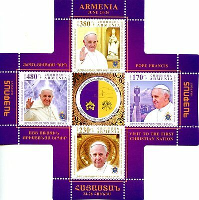Armenia 2016 MNH Pope Francis Visit 4v M/S Popes Cross Shaped Stamps