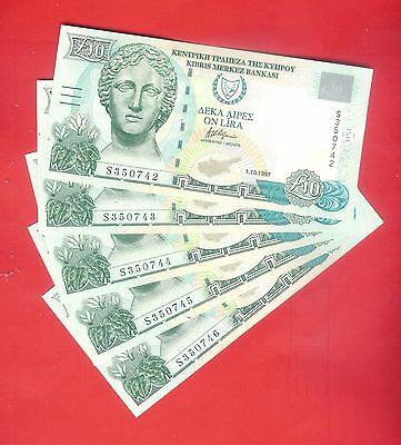 10 CYPRUS POUNDS 1.10.1997 -  UNCirculated. (5 PIECES)