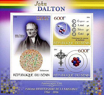 Benin 2016 MNH John Dalton 250th Birth Anniv 3v M/S Science Chemistry Stamps