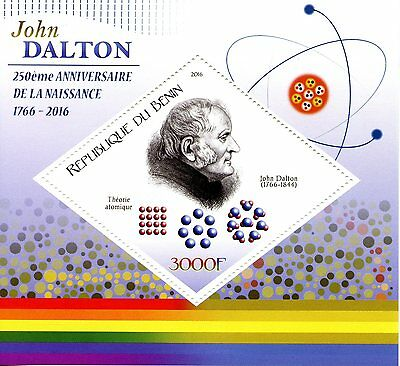 Benin 2016 MNH John Dalton 250th Birth Anniv 1v S/S Science Chemistry Stamps
