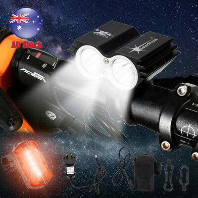 2x 5000LM XM-L T6 LED Rechargeable Cycle Front Head Bicycle Bike Light 6400mAh