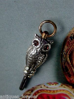 Pocket Watch Key Vintage Solid Silver Set With Genuine Rubies In The Eyes.
